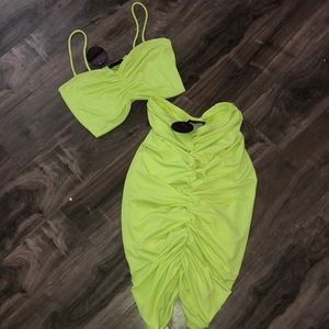 Neon green 2 piece outfit